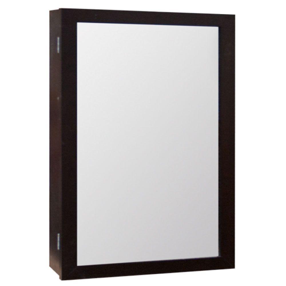 15-1/4 in. W x 25-3/4 in. H Framed Surface-Mount Bathroom Medicine Cabinet in Java