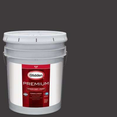 5 gal. #NHL-008C Colorado Avalanche Black Flat Interior Paint with Primer