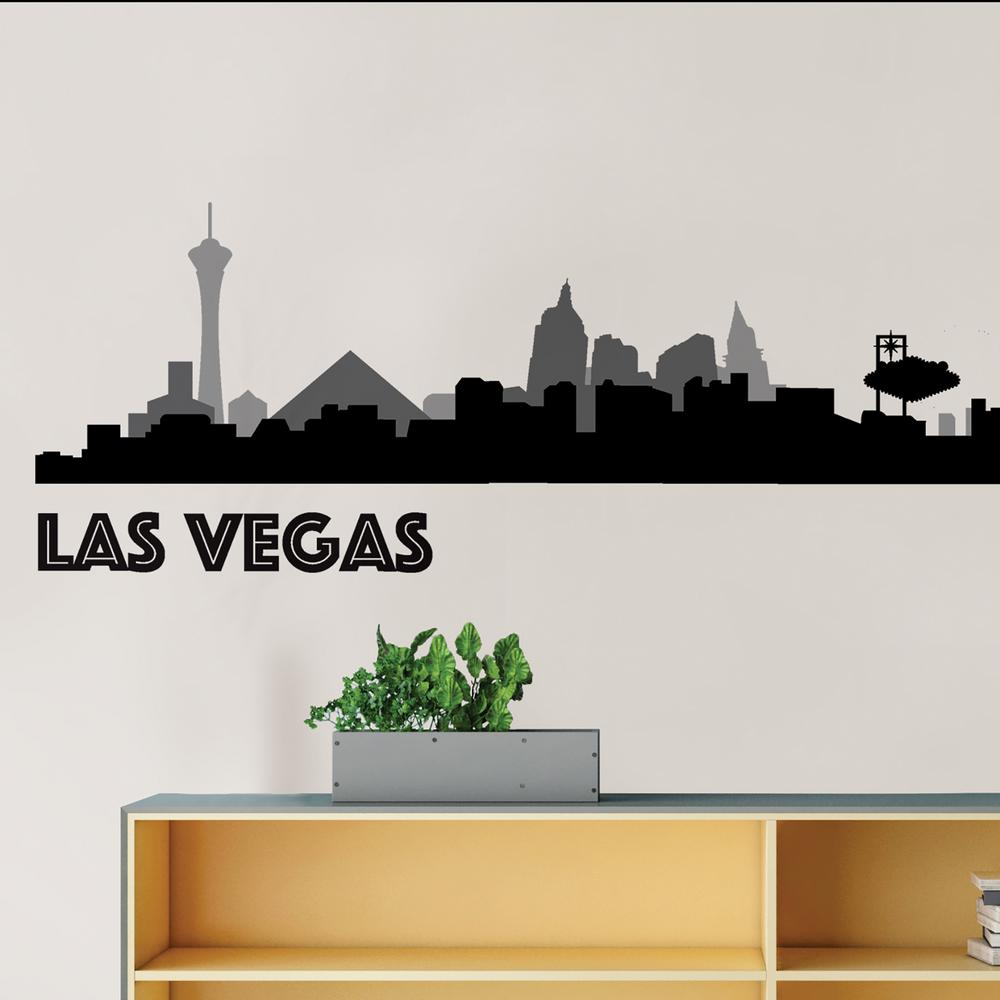 Las Vegas Black Cityscape Wall Art Kit