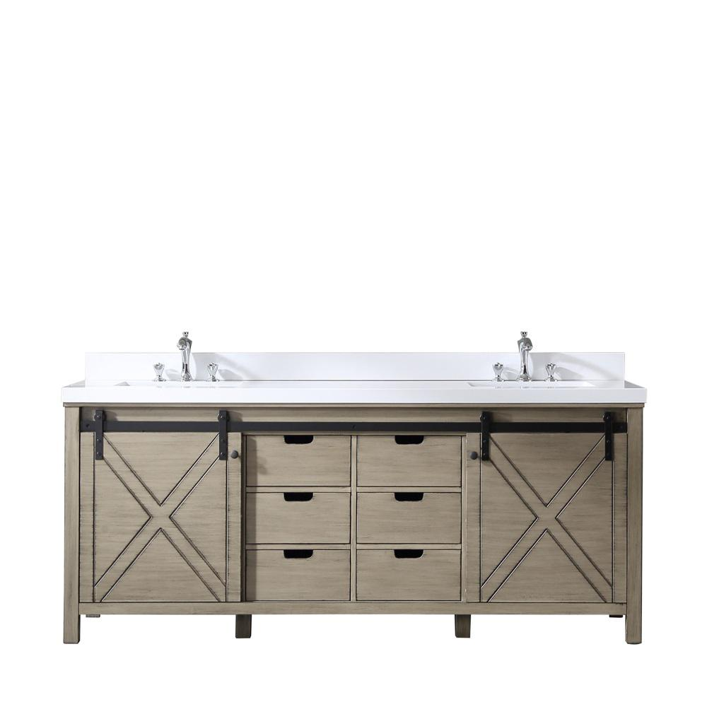 Lexora Marsyas 80 in. Double Vanity Ash Grey White Quartz Top White Square Sinks and No Mirror