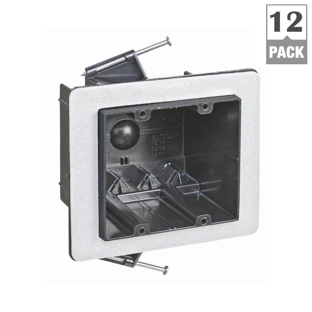 Carlon 2-Gang 36 cu. in. New Work Non-Metallic Vapor Tight Electrical Wall Box (Case of 12)