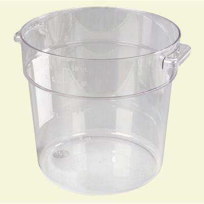 18 qt. Polycarbonate Round Storage Container in Clear (Case of 6)