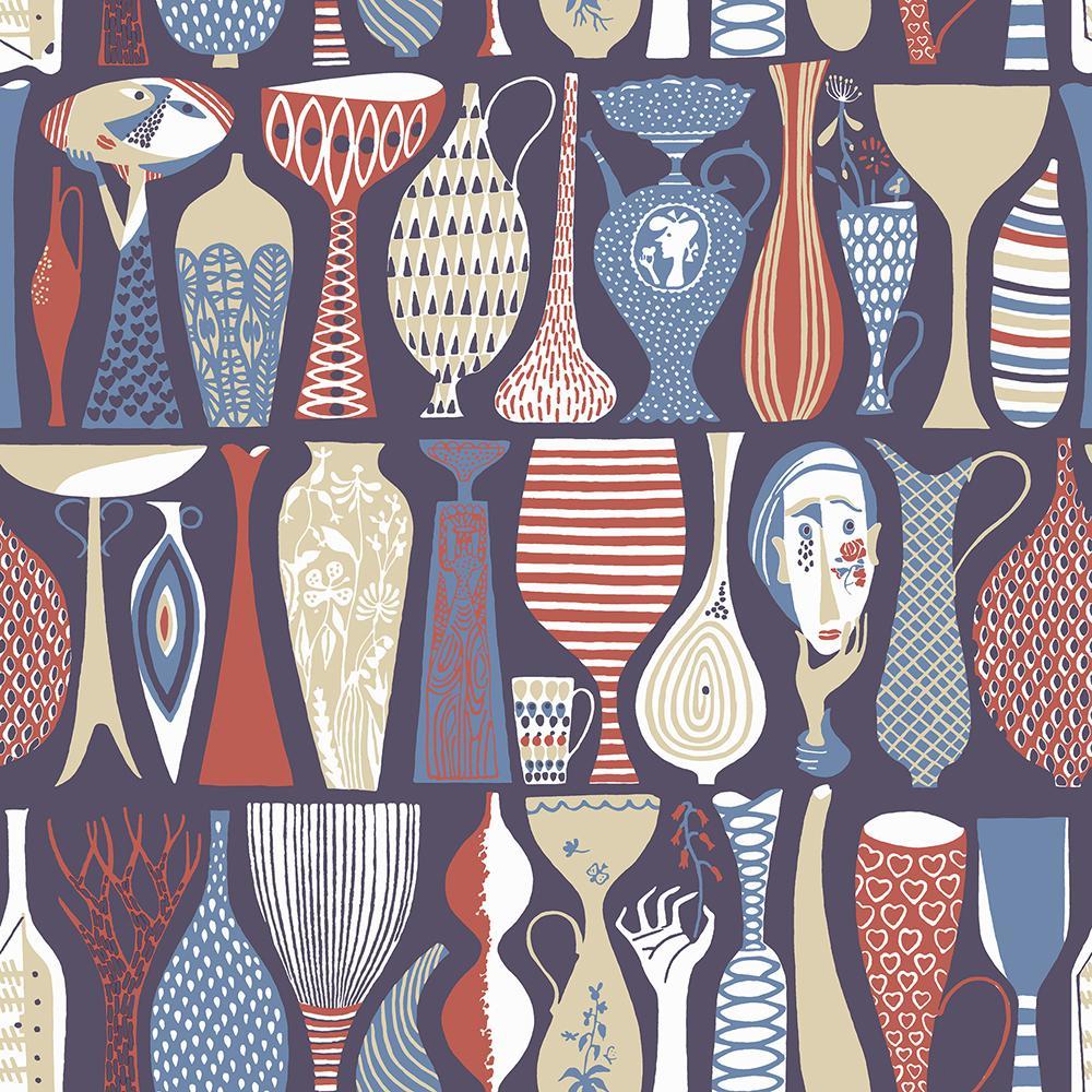 725bdfb1f7f8 8 in. x 10 in. Pottery Red Folk Wallpaper Sample-WV1760SAM - The Home Depot