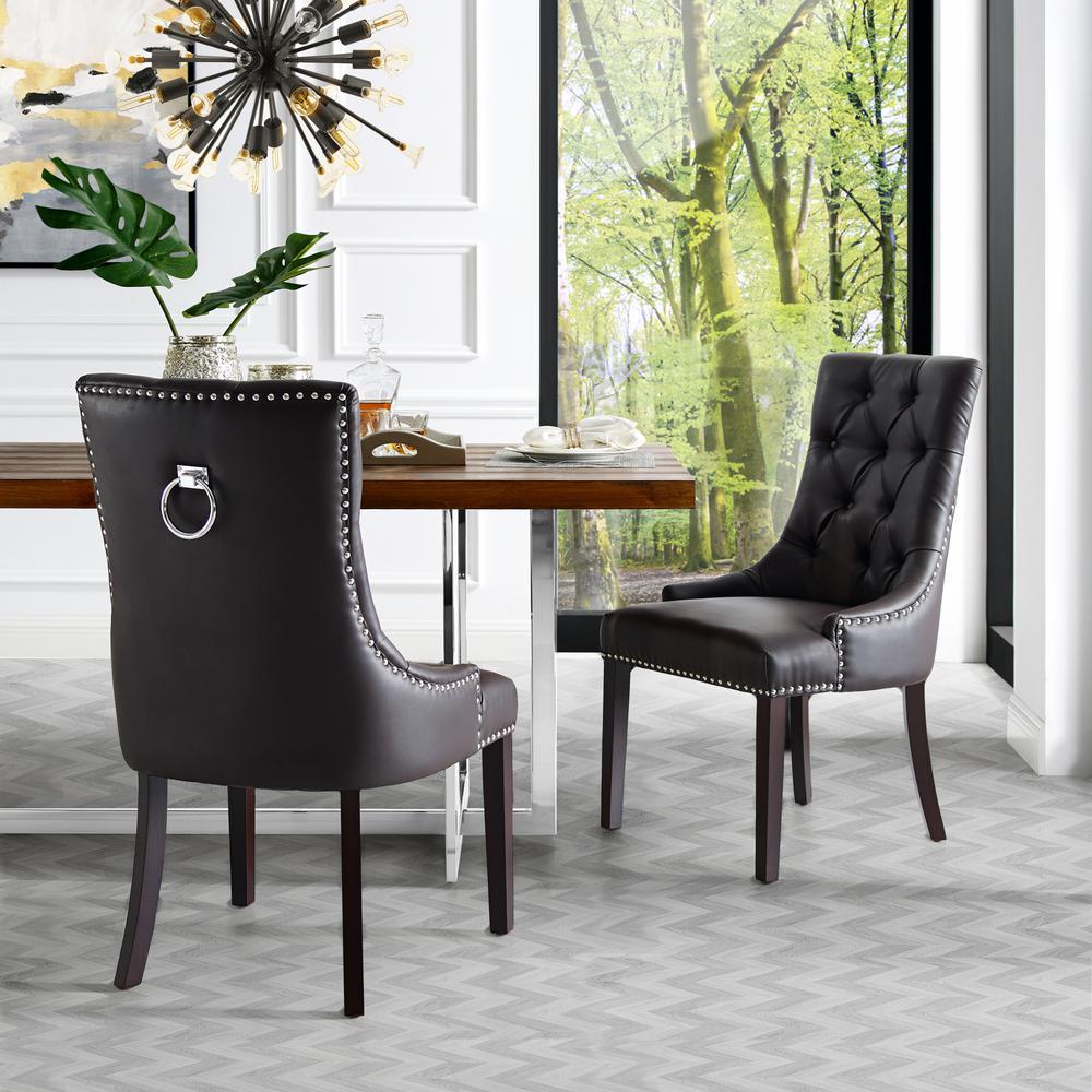 Inspired Home Autumn Espresso/Chrome PU Leather Nailhead Armless Dining Chair