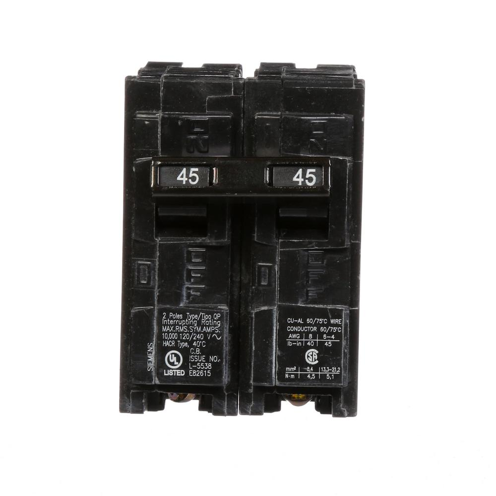 siemens 45 amp double pole type qp circuit breaker q245 the home depotsiemens 45 amp double pole type qp circuit breaker