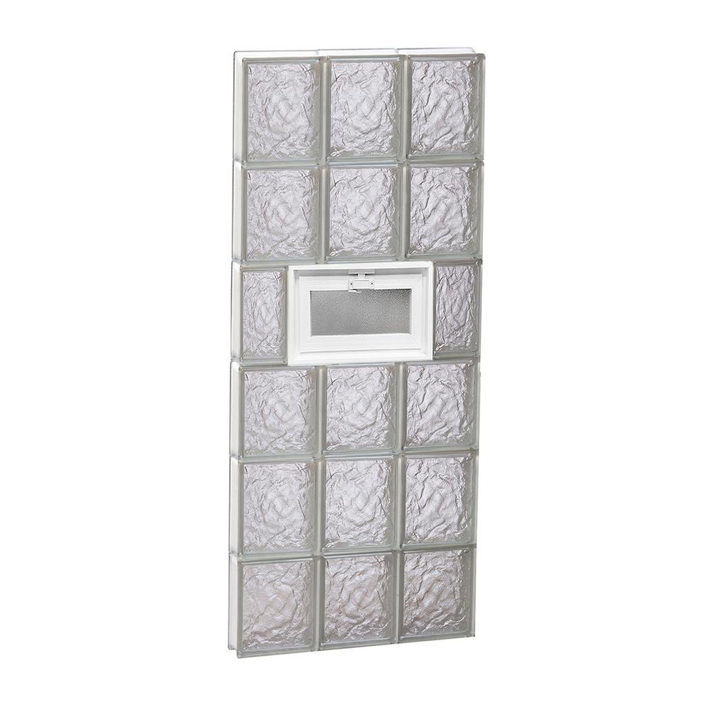 Clearly Secure 17.25 in. x 46.5 in. x 3.125 in. Frameless Vented Ice Pattern Glass Block Window