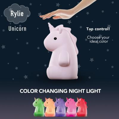 Rylie Unicorn MultiColor changing Integrated LED Rechargeable Silicone Night Light Lamp, Pink