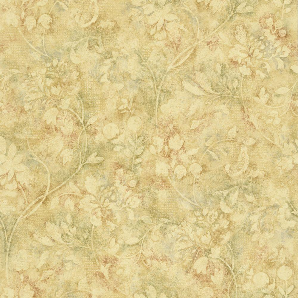 The Wallpaper Company 8 in. x 10 in. Red and Sage Damask Trail Wallpaper Sample-DISCONTINUED