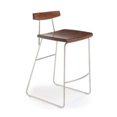 Paris 26 in. Exotic 100% Solid Bamboo and Polished Stainless Steel Counter Stool with Back (Set of 2)