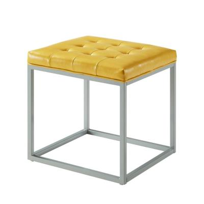 Lucas Yellow PU Leather Button Tufted Metal Frame Cube Ottoman