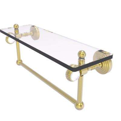 Pacific Grove Collection 16 Inch Glass Shelf with Towel Bar and Twisted Accents in Satin Brass