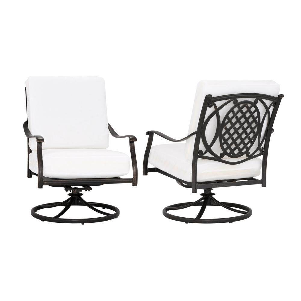 hamptonbay Hampton Bay Belcourt Custom Swivel Rocking Metal Outdoor Lounge Chair (2-Pack) with Cushions Included, Choose Your Own Color