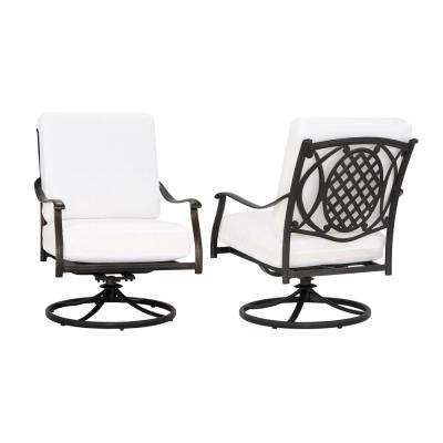 Belcourt Custom Swivel Rocking Metal Outdoor Lounge Chair (2-Pack) with Cushions Included, Choose Your Own Color