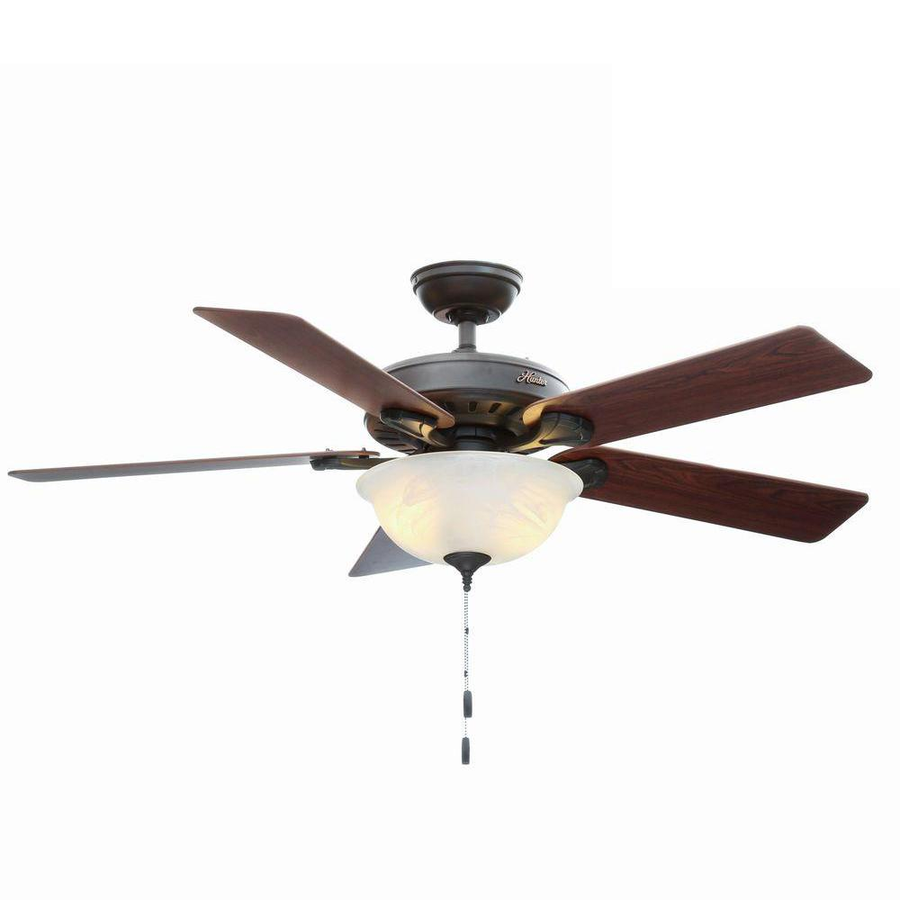 Hunter pros best five minute 52 in indoor new bronze ceiling fan indoor new bronze ceiling fan with light kit aloadofball