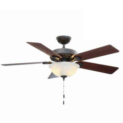 Pro's Best Five Minute 52 in. Indoor New Bronze Ceiling Fan with Light Kit Bundled with Handheld Remote Control