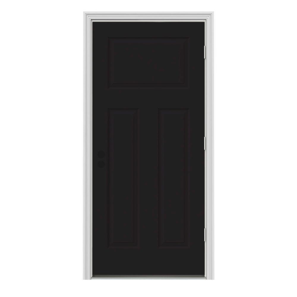 Jeld wen 32 in x 80 in 3 panel craftsman black painted steel prehung left hand outswing front - Black craftsman front door ...
