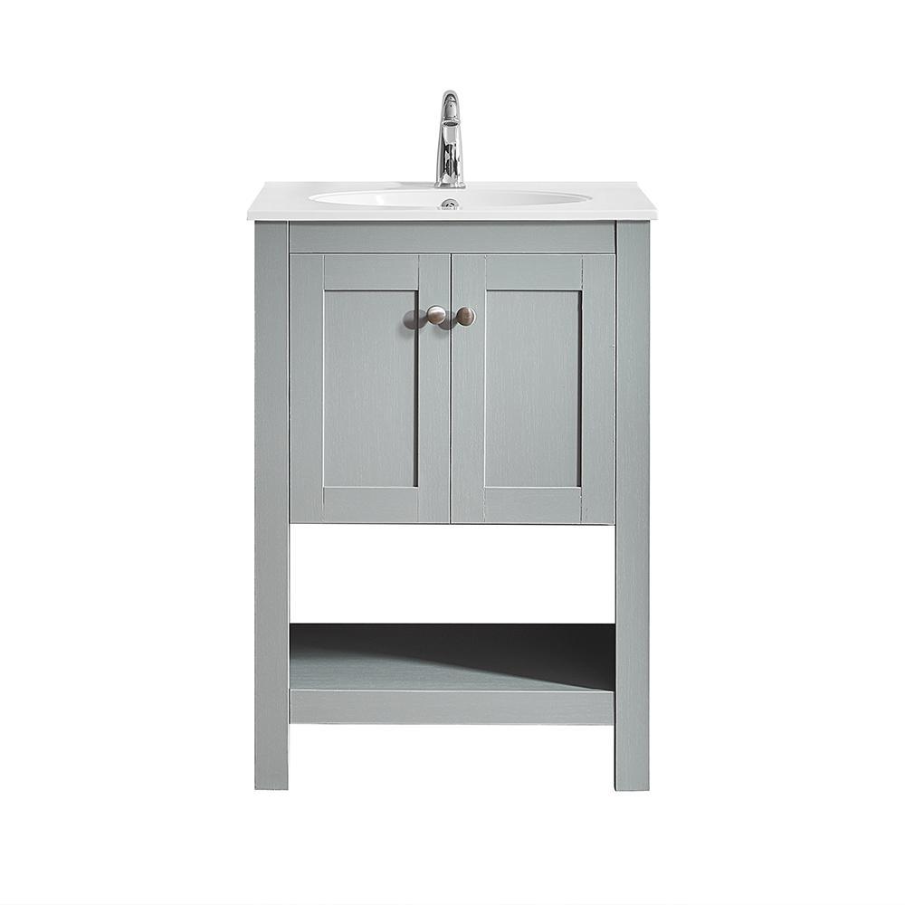 Belvedere 24 in. W x 19 in. D Bath Vanity in Grey with Quartz Vanity Top in White with White Basin