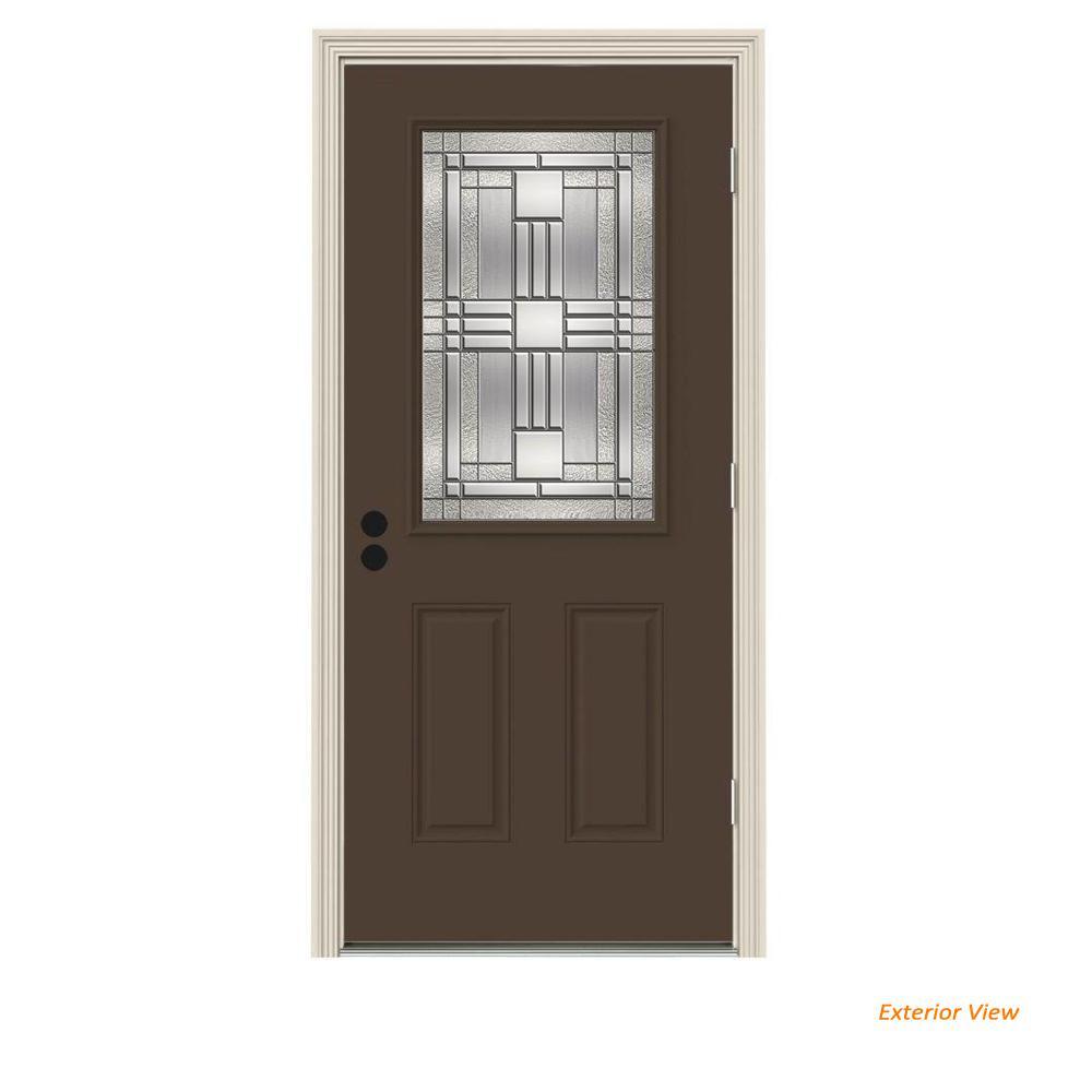 36 in. x 80 in. 1/2 Lite Cordova Dark Chocolate Painted Steel Prehung Left-Hand Outswing Front Door w/Brickmould