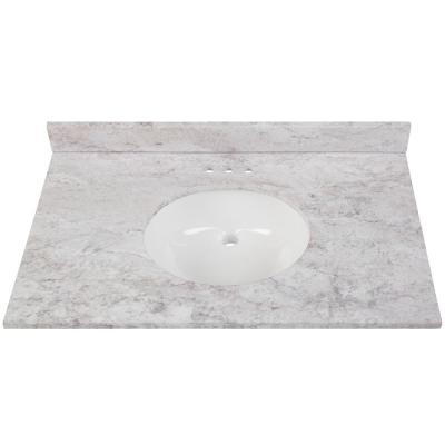 37 in. W x 22 in. D Stone Effects Vanity Top in Winter Mist with White Sink