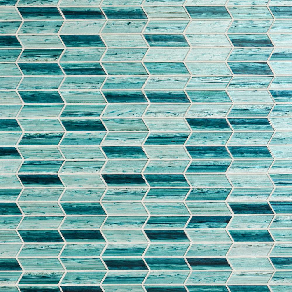 Tara Turquoise 11.73 in. x 11.74 in. Chevron Glass Mosaic Tile (0.96 sq. ft./Sheet)