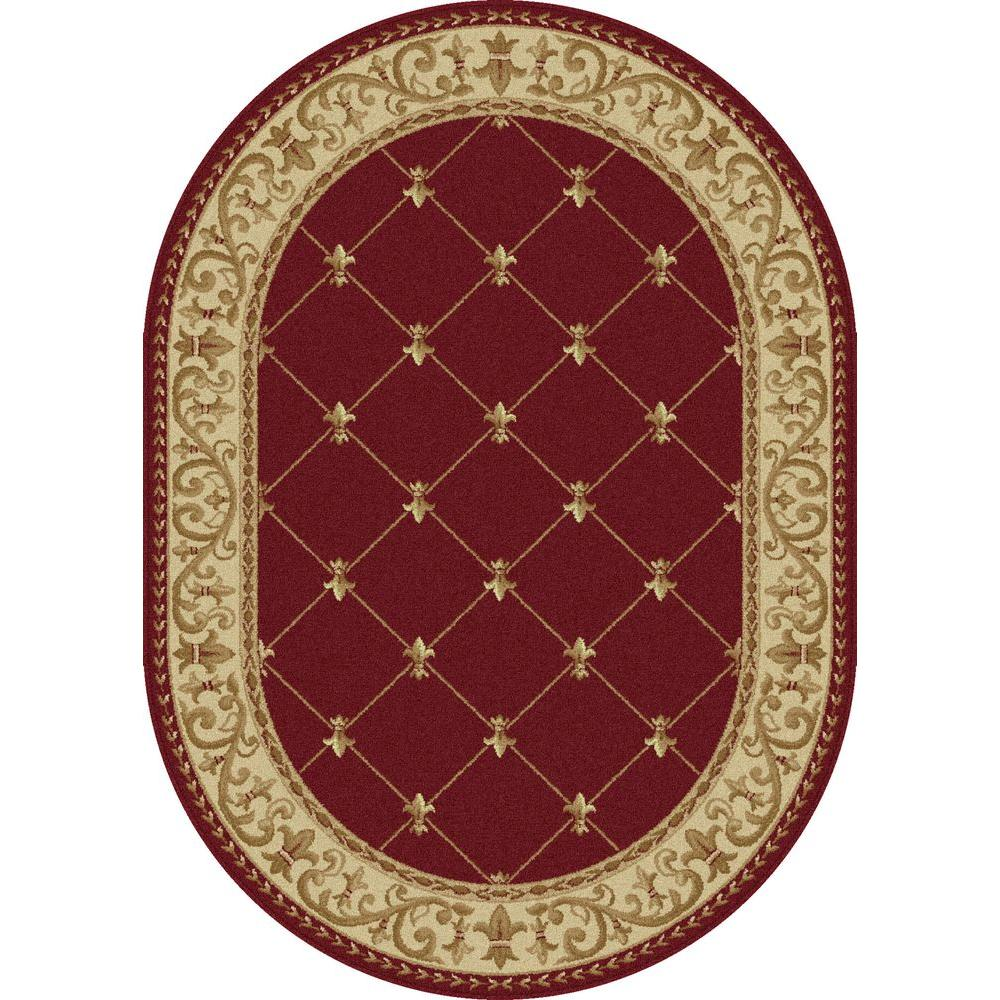 Tayse rugs sensation red 5 ft 3 in x 7 ft 3 in oval for Floor depot new orleans