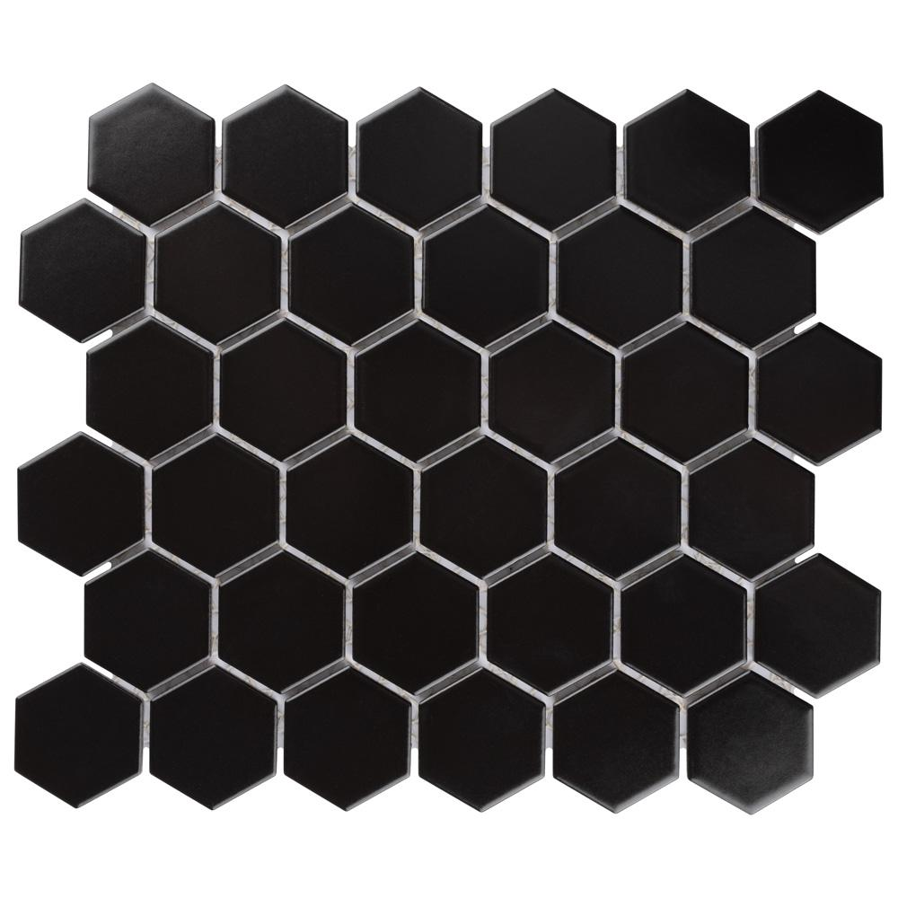 Merola Tile Metro Hex 2 in. Matte 11-1/8 in. x12-5/8 in. Black Porcelain Mosaic (9.64 sq. ft. /case)