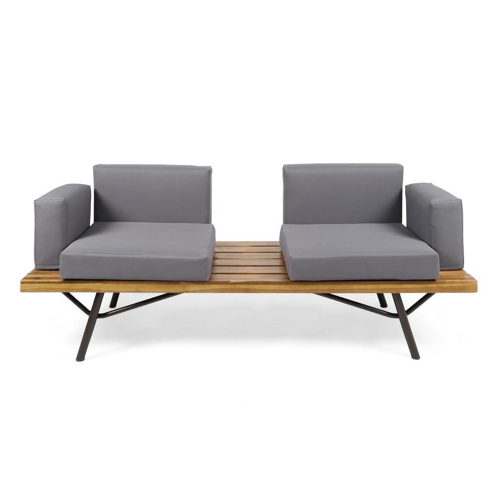 Canoga Teak Brown Wood Outdoor Sofa with Dark Gray Cushions