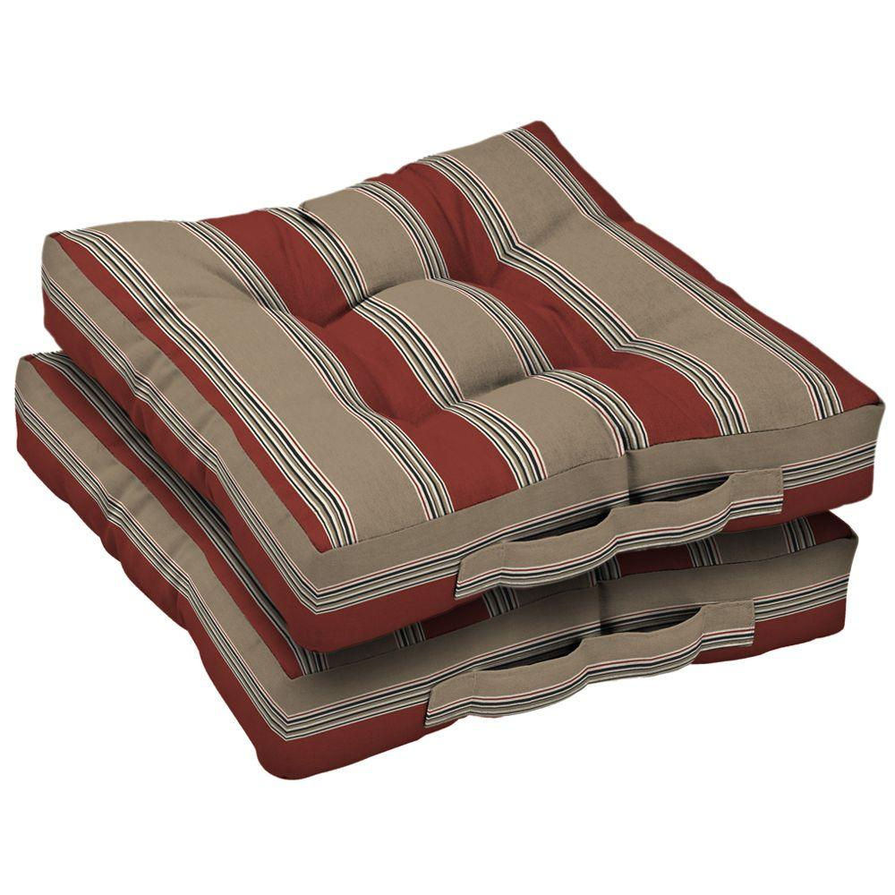 Arden Chili Stripe Deck Cushion (Set Of 2)-DISCONTINUED