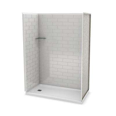 Utile Metro 32 in. x 60 in. x 83.5 in. Alcove Shower Stall in Soft Grey with Left Drain Base in White
