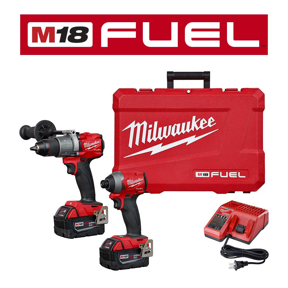 M18 Fuel 18 Volt Lithium Ion Brushless Cordless Hammer Drill Impact Driver Combo Kit 2 Tool W 5ah Batteries