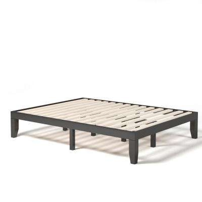 Boyel Living 14 Inch Brown Queen Size Wooden Bed Mattress Frame Without Headboard Hysn 63260bn The Home Depot