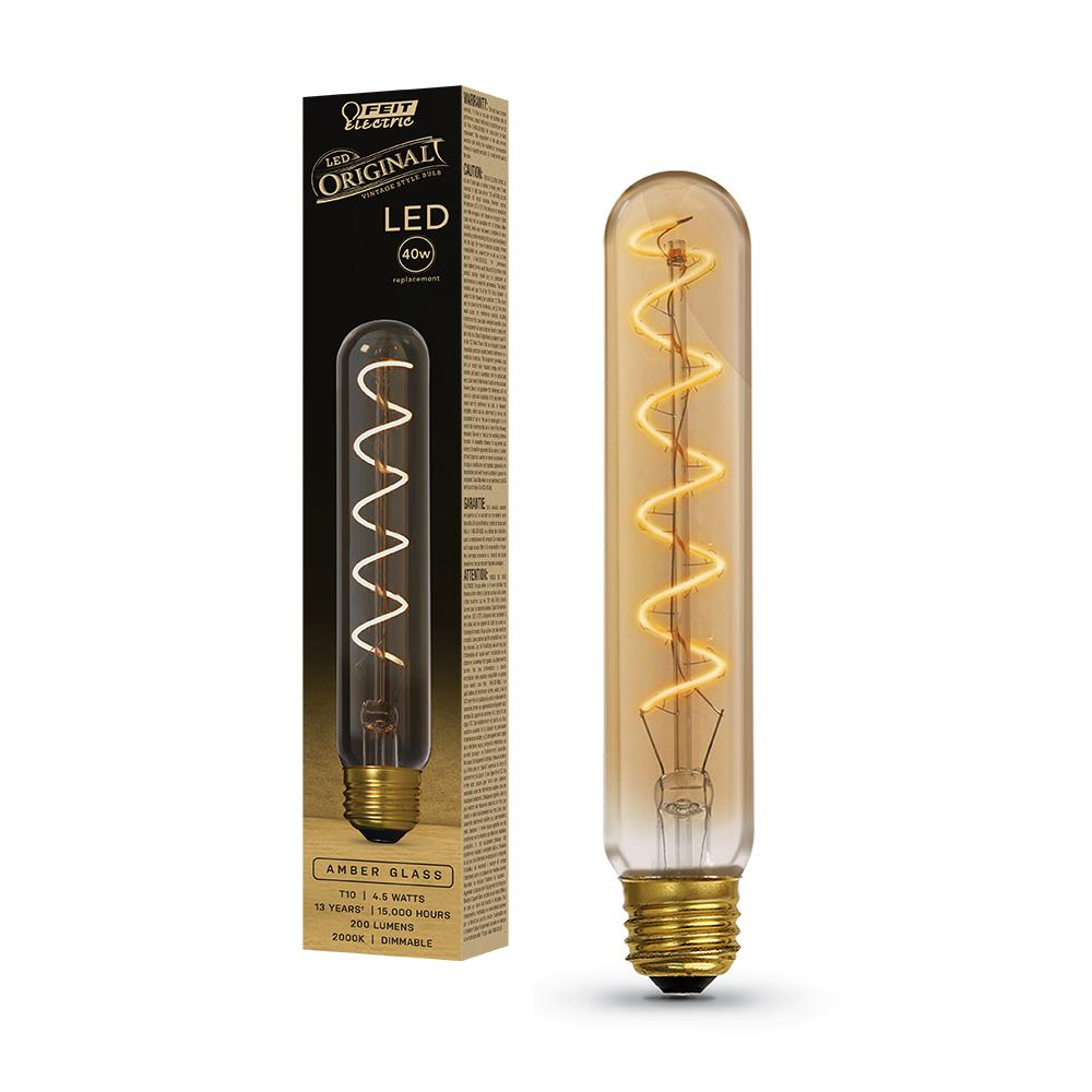 Feit Electric 40-Watt Equivalent T10L Dimmable LED Amber Glass Vintage Edison Large Light Bulb With Spiral Filament Warm White