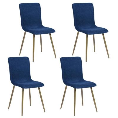 Scargill Blue Upholstered Textured Fabric Dining Chairs (Set of 4)