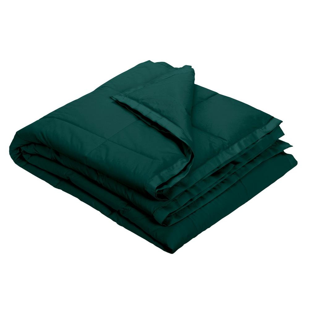 LaCrosse Down Forest Green Cotton Throw Blanket