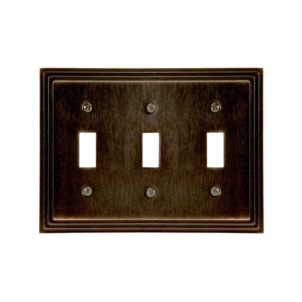 Amerelle Steps 3 Toggle Wall Plate - Aged Bronze-DISCONTINUED