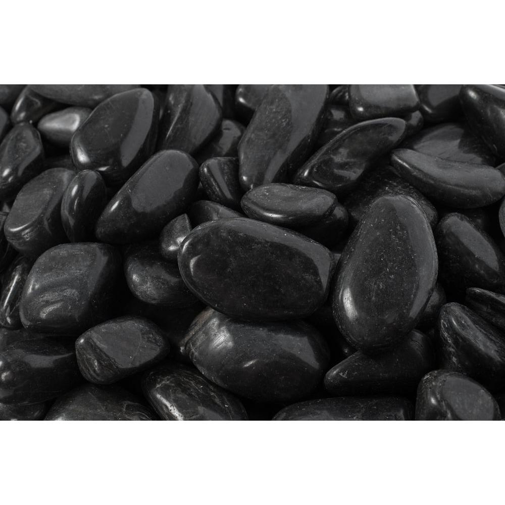 Rain Forest 2 in. to 3 in., 2200 lb. Large Black Super Polished Pebbles