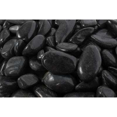 2 in. to 3 in., 2200 lb. Large Black Super Polished Pebbles