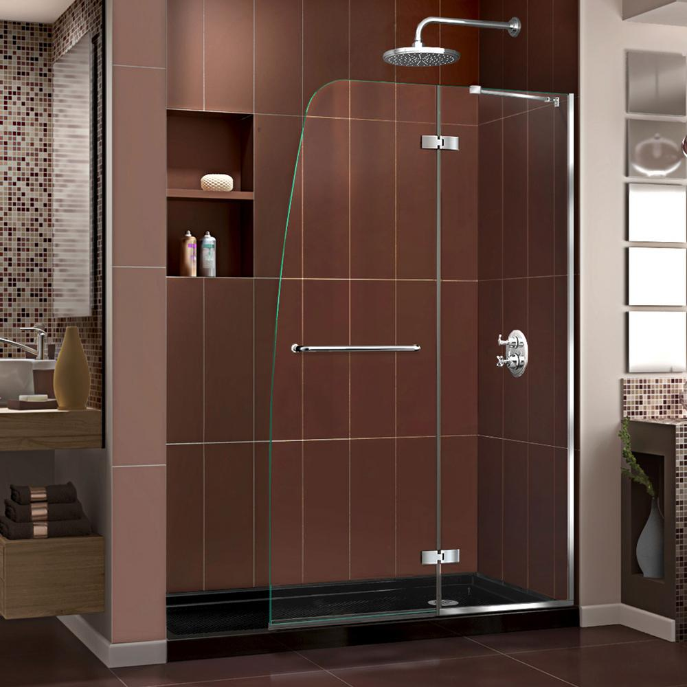 DreamLine Aqua Ultra 34 in. x 60 in. x 74.75 in. Semi-Frameless Hinged Shower Door in Chrome with Shower Base in Black