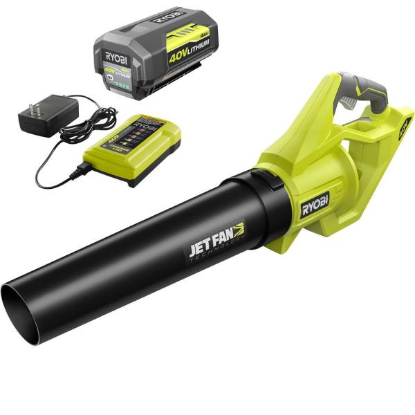 110 MPH 500 CFM 40-Volt Lithium-Ion Cordless Variable-Speed Jet Fan Leaf Blower with 4.0 Ah Battery and Charger Included