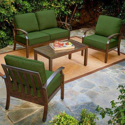 Bridgeport 4-Piece Metal Patio Conversation Set with Green Cushions