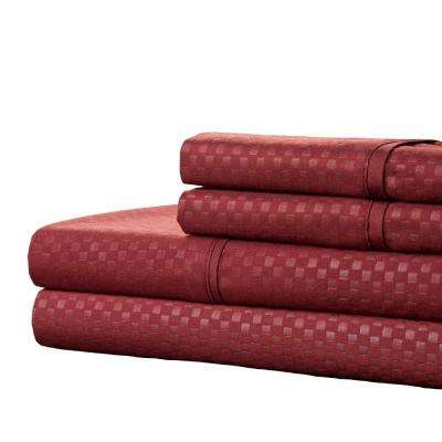 Embossed Burgundy 4-Piece 90 GSM Microfiber Queen Sheet Set