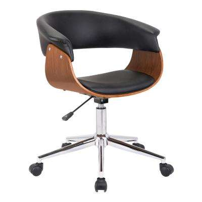 Bellevue Chrome with Black Faux Leather and Walnut Veneer Mid-Century Office Chair
