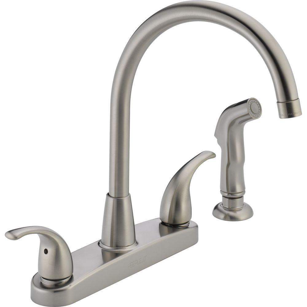 Peerless Choice 2-Handle Standard Kitchen Faucet with Side Sprayer in  Stainless