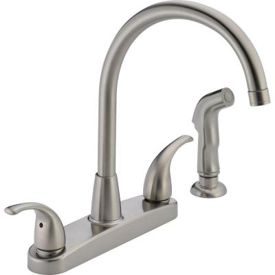 Choice 2-Handle Standard Kitchen Faucet with Side Sprayer in Stainless