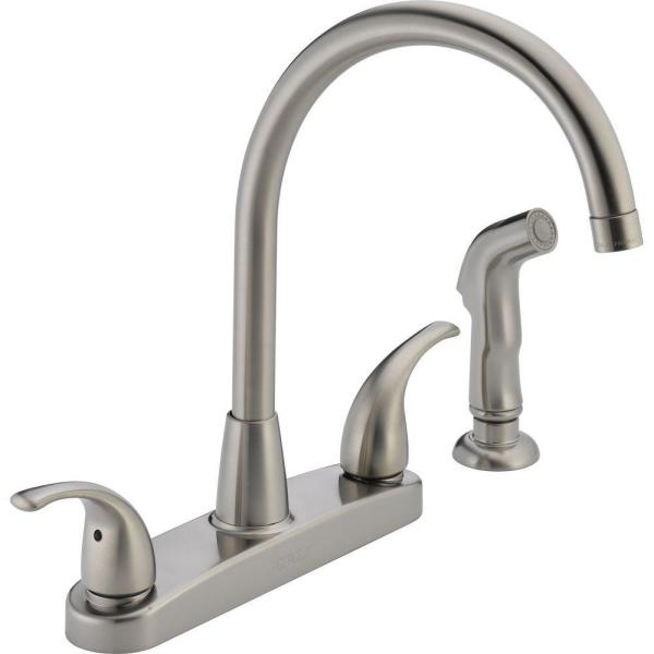 Peerless Choice 2 Handle Standard Kitchen Faucet With Side Sprayer In Stainless P299578lf Ss The Home Depot