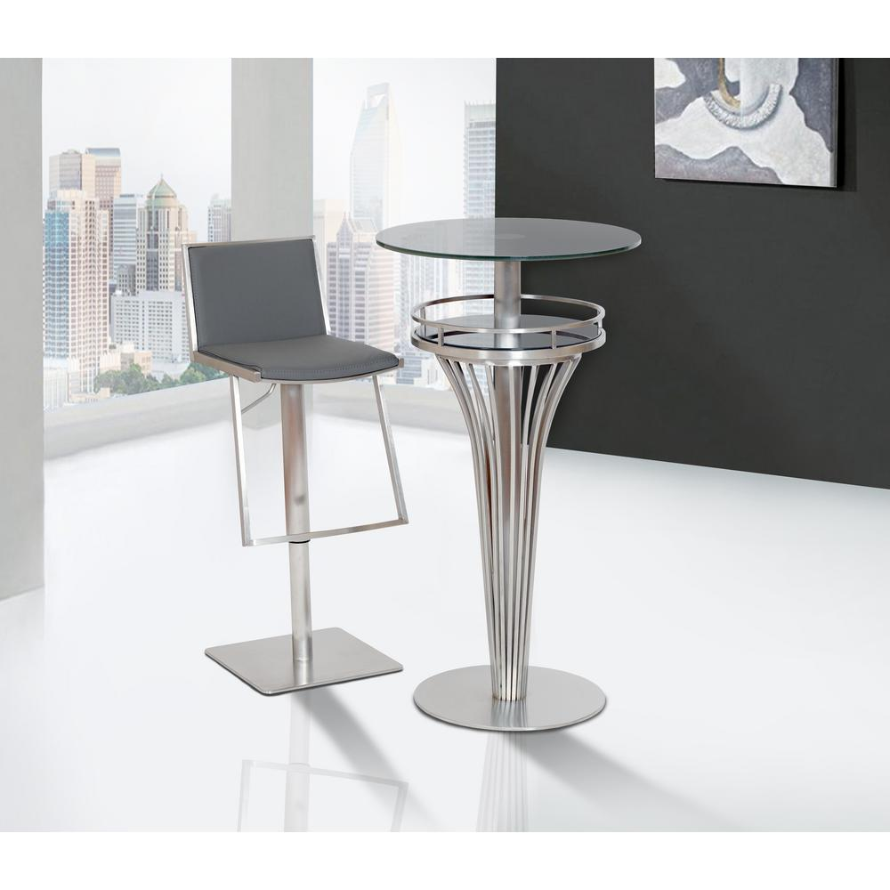 Armen Living Ibiza 30 In. Gray Faux Leather And Brushed Stainless Steel  Adjustable Barstool