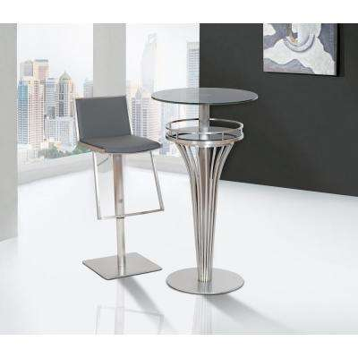 Ibiza 30 in. Gray Faux Leather and Brushed Stainless Steel Adjustable Barstool