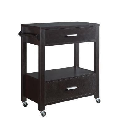 Korben Espresso Kitchen Cart with Drawers