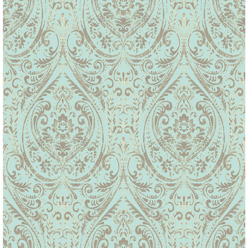 Nuwallpaper blue nomad damask peel and stick wallpaper - Best peel and stick wallpaper ...