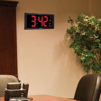 18 in. Large LED Clock with Indoor Temperature